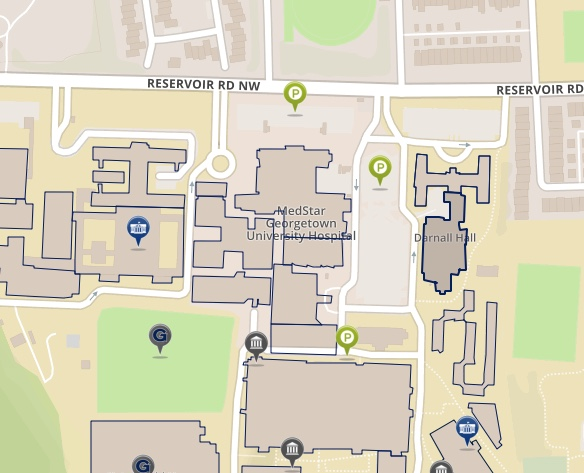 Map depicting Darnall Hall on the main campus of Georgetown University in Washington DC