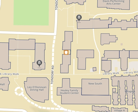 Map depicting the Georgetown Police Department on the main campus of Georgetown University in Washington DC