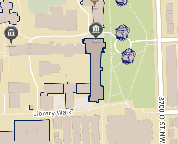 Map depicting Healy Hall on the main campus of Georgetown University in Washington DC