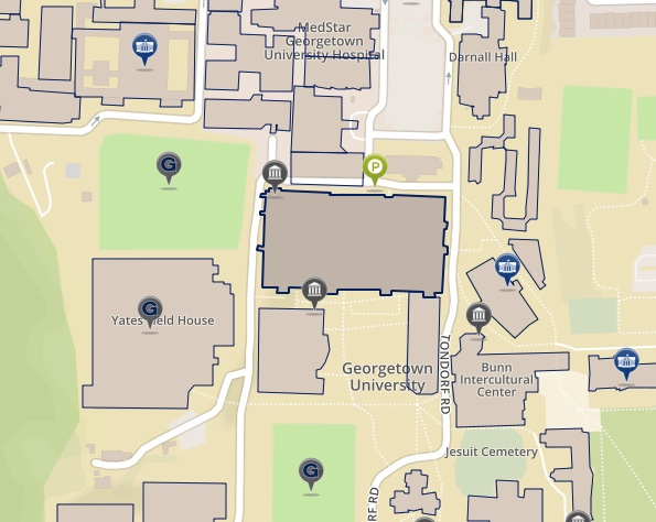 Map depicting the Leavey Center on the main campus of Georgetown University in Washington DC