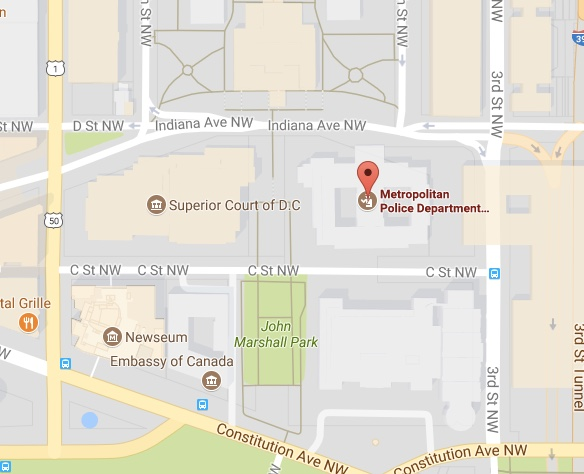 Map depicting the Metropolitan Police Department on Indiana Ave NW in Washington DC